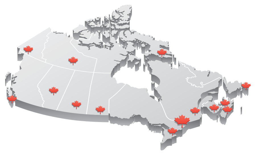 map illustration of the Canadian Provinces