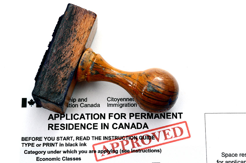 photo of an approved application for permanent residency in Canada, one of the ways Canadian Immigration Group can help you